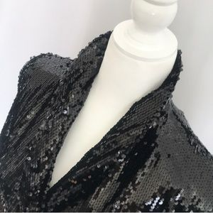 Zara Black Sequin Blazer Dress L